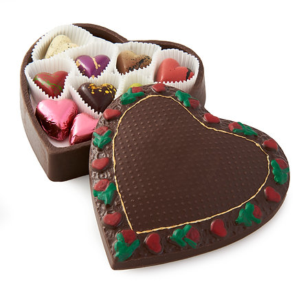 Handcrafted, Large  Chocolate Heart Box Filled With Chocolate Bonbons
