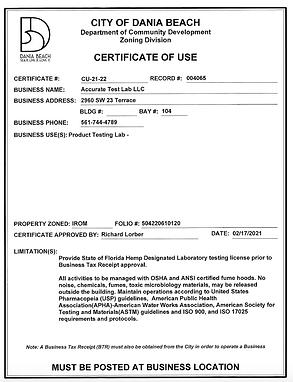 Accurate Lab Certificate