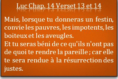 Jésus: convie les pauvres et les impotents.