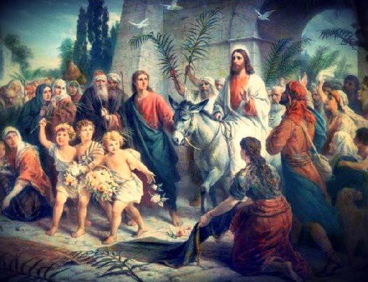 L'entrée triomphante de Jésus à Jérusalem, avant Pâques, fêté avec des rameaux
