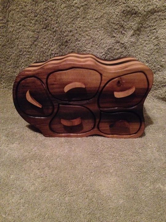 This is my new trinket box 9_long 4_wide 6_tall it is made of popular with a hand ruffed Danish oil