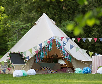 Canvas cotton Bell tent in the yard decorated for summer kids party_edited.jpg
