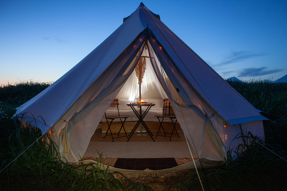 Glamping on the Pacific coast in an ecologically clean place in Russia. Kamchatka. Selecti