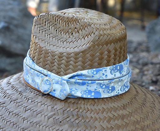 Periwinkle Blue, White & Silver Skull Fabric, Triple Wrapped Original RIATA