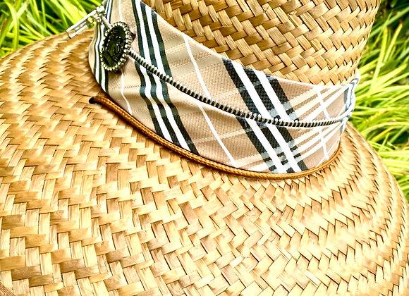 Classic RIATA Sun Hat - Triple Wrapped Beige Plaid