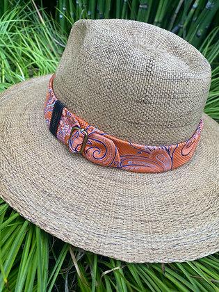 Tan Hunter Derby RIATA with Orange & Brilliant Blue Paisley Pattern Fabric