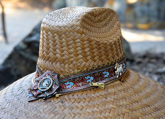 Hand Woven Deep Ruby/Mocha Jacquard Ribbon Wrapped Original RIATA