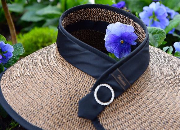 Brown & Black Woven RIATA Visor With Black Satin