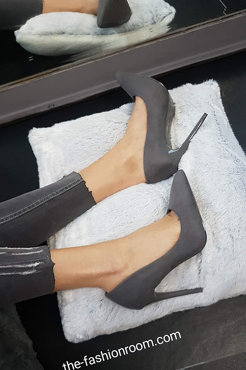 escarpins daim gris
