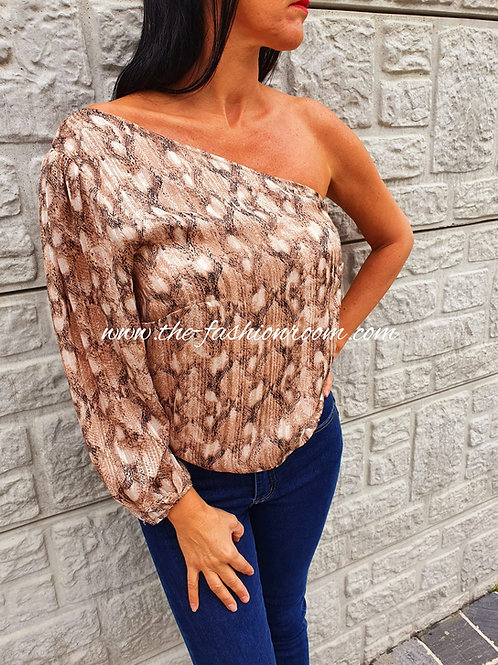 blouse animal one schoulder