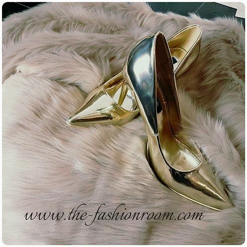 escarpins miroir doré