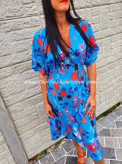 robe bleu fleurie