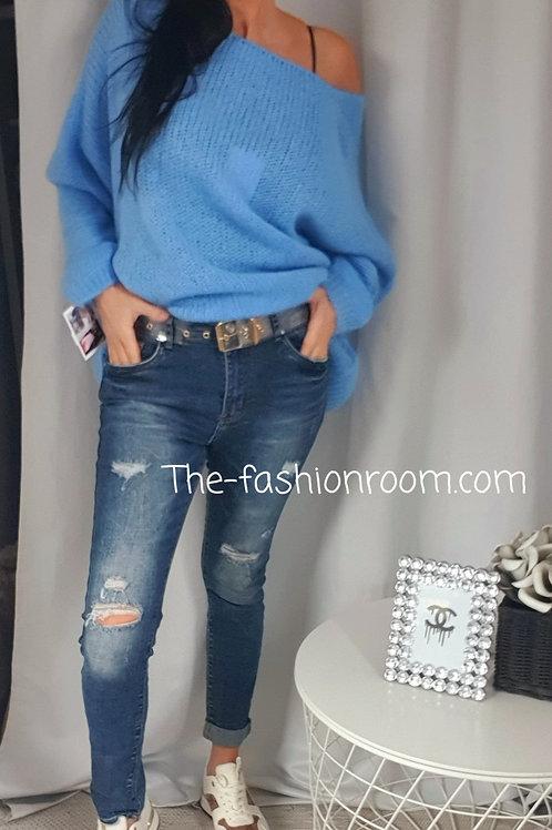 jeans destroy et ceinture plexi