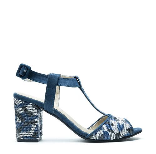 Kamila Blue Vegan T-Strap Sandal
