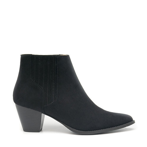 Emily Black Vegan Western Ankle Boots