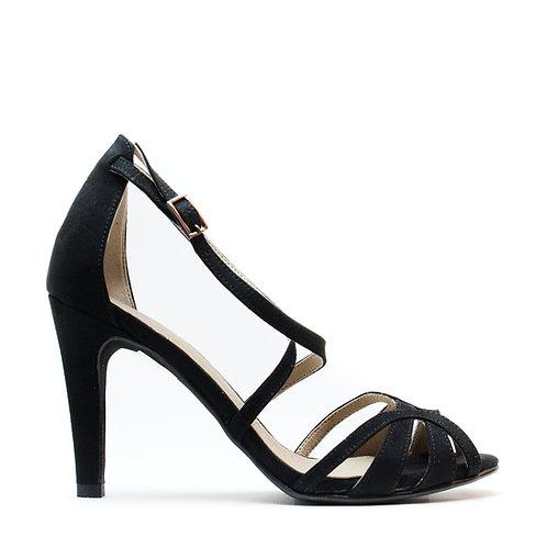 Adri Black Vegan T-Strap Sandal