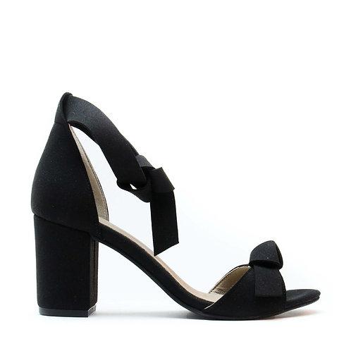 Estela Black Vegan Heel Sandals