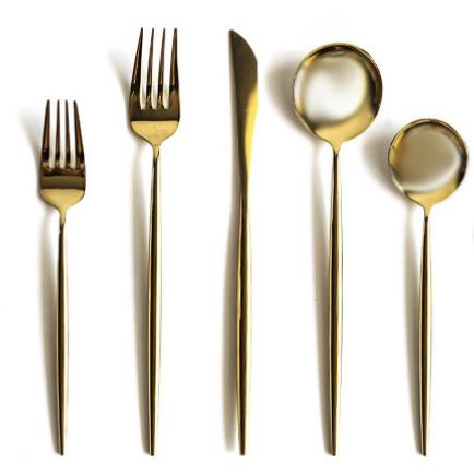 Porto Cutlery in Gold Mirror Polish 10-pc set