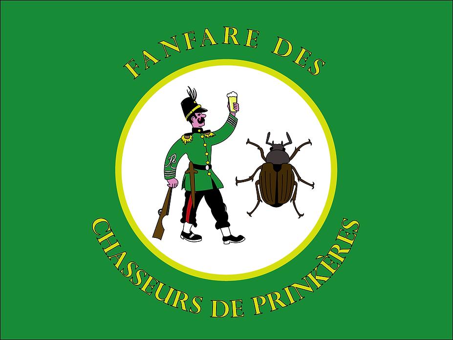 le drapeau de la fanfare des chasseurs de prinkères, folklore Bruxellois.