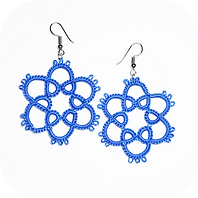 tatted earrings lightweight blue