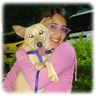 Amrita with Rani doggie