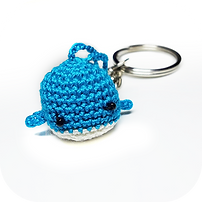 whale keychain blue