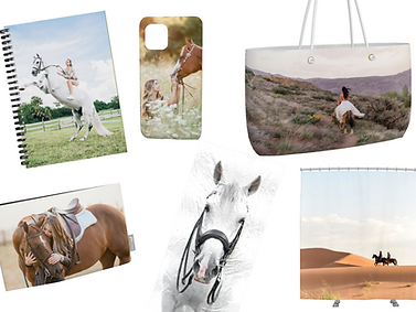 everyday items such as a journal, phone case, and canvas tote with photos of girls and their horses printed on them
