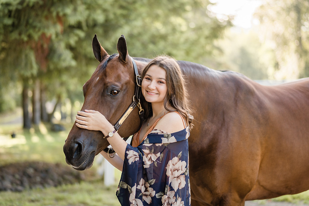 Riley Dosa with her horse Preston, and his roached mane