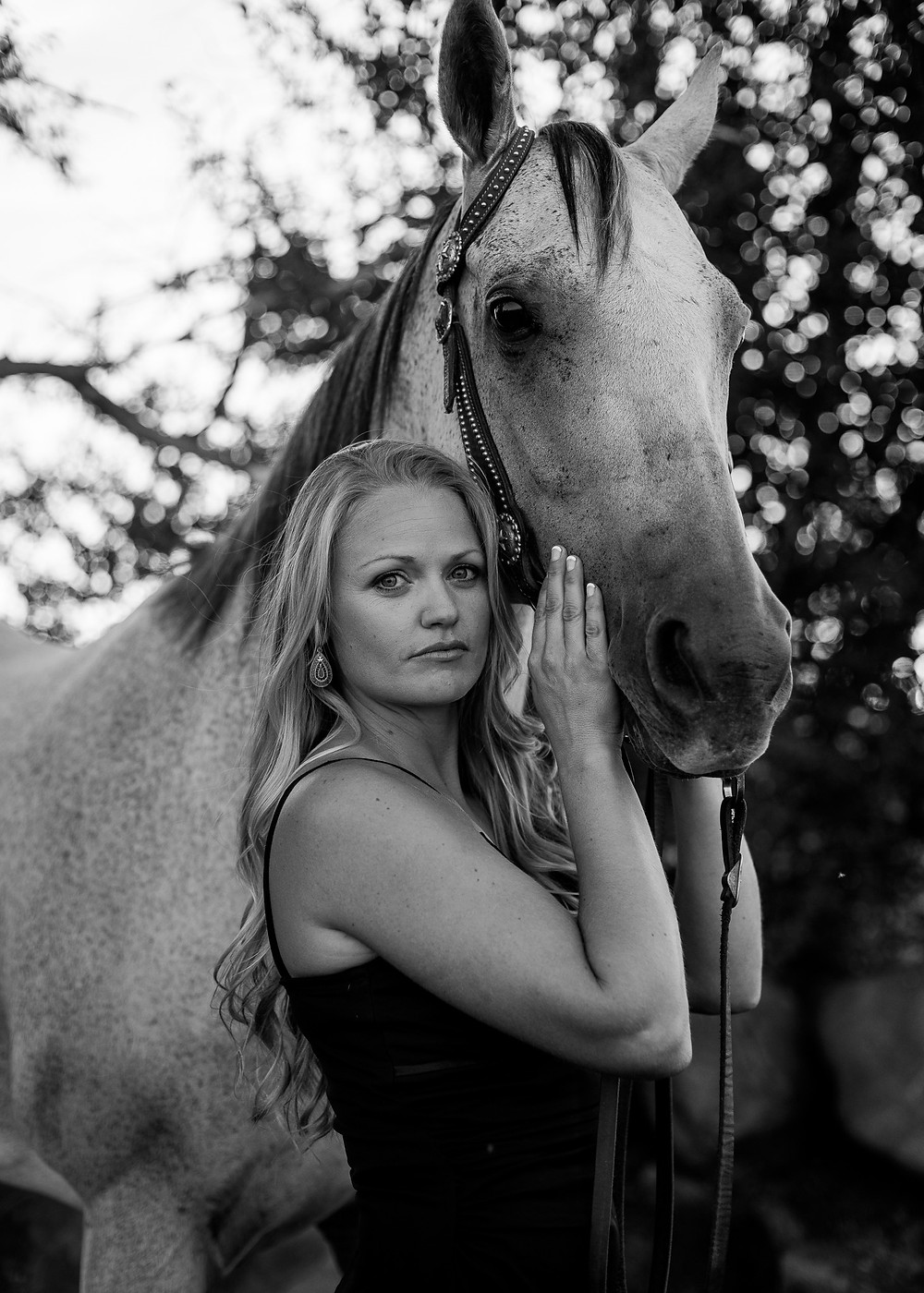 Black and white of Brielle and Smokey