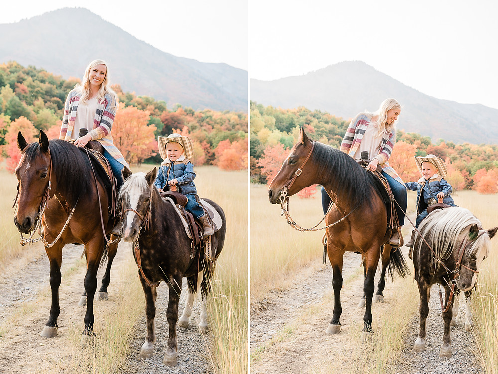 Lauren riding Russel with her son, McCoy riding Jello