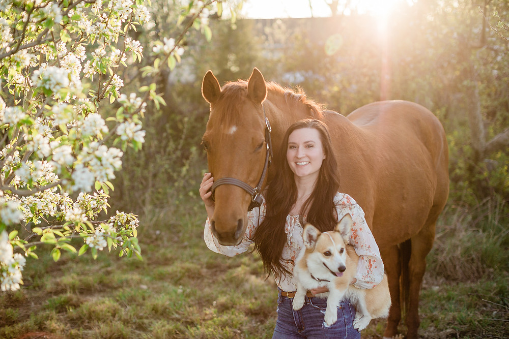 Jeni and her horse, Gracie and dog, Phoebe