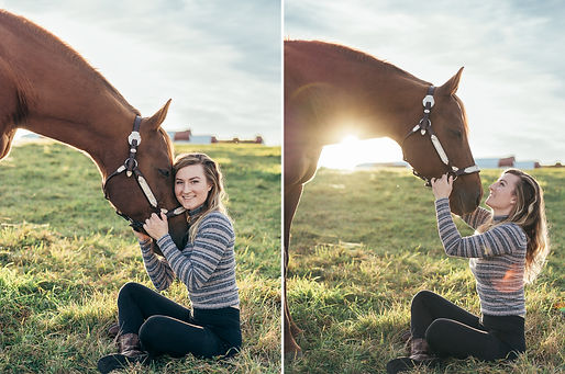 two photos of myself, an equestrian photographer with my horse, Gracie.
