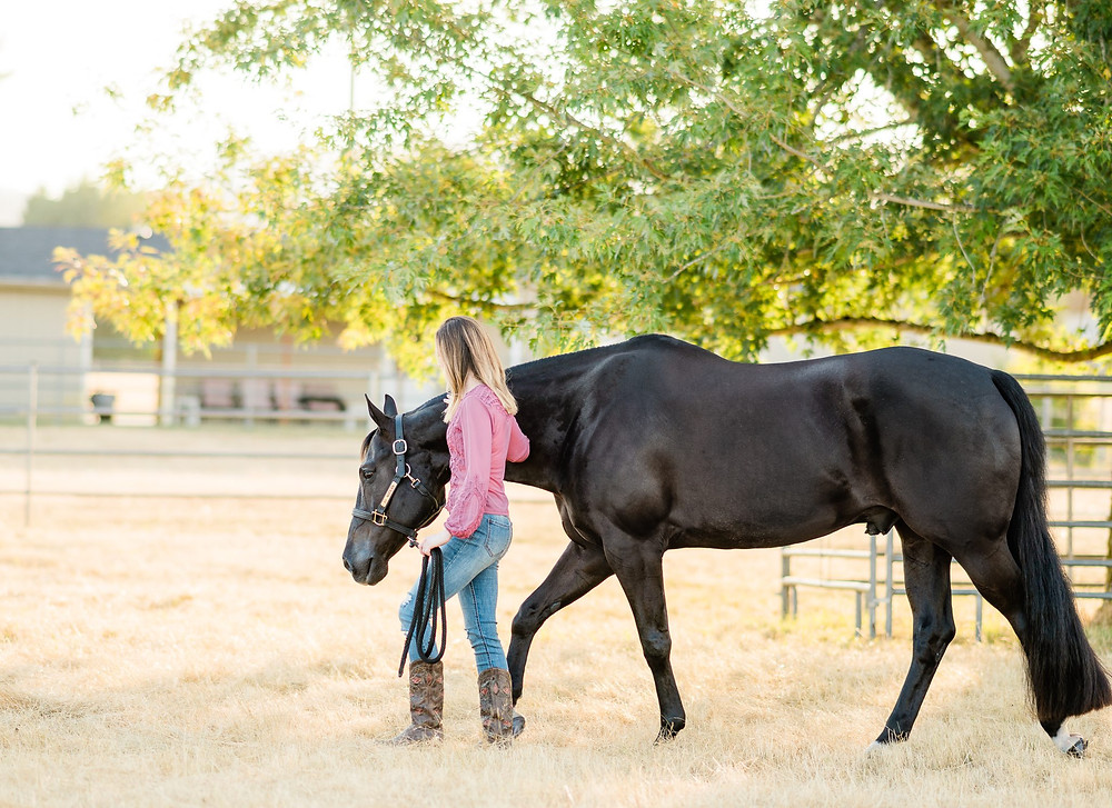 Alyssa walking Danny through the pasture under a tree
