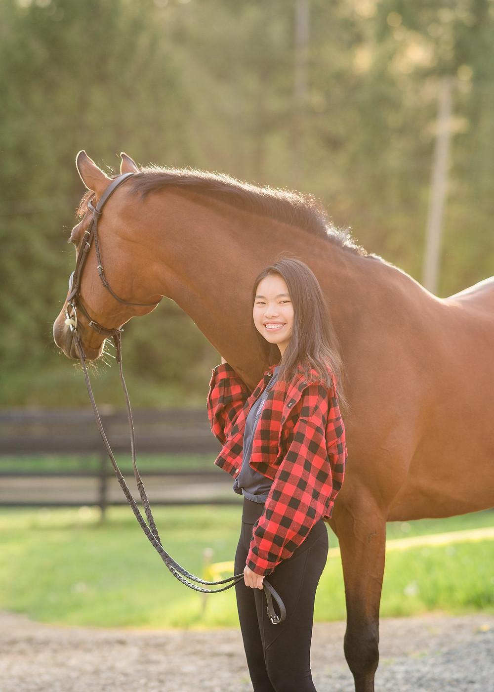 Kristen Hwang with her gelding, Cass at Union Hill Ranch in Redmond, WA