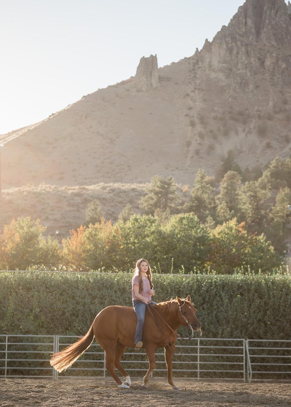 Kady riding Benltey bareback