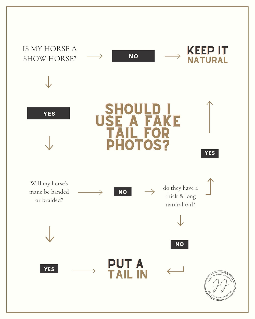 """a flow chart asking """"should I use a fake tail for photos?"""""""