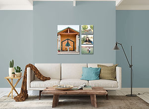 a living room with 4 canvases hung on the wall of a girl with her horse from an equestrian photo session