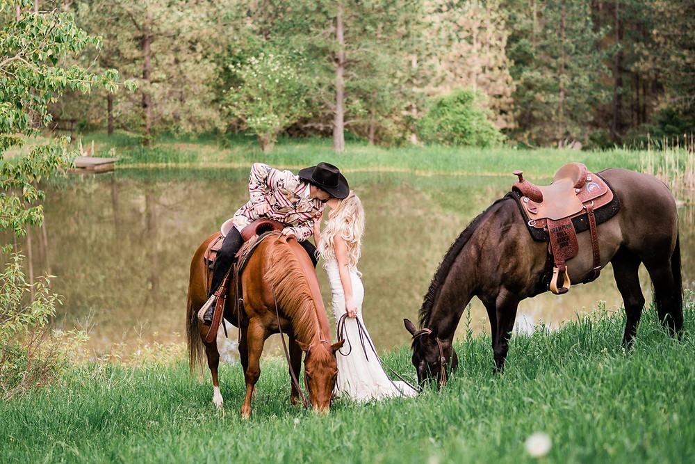 Cassy and Jake Davis, an equestrian adventure wedding in Rathdrum, Idaho