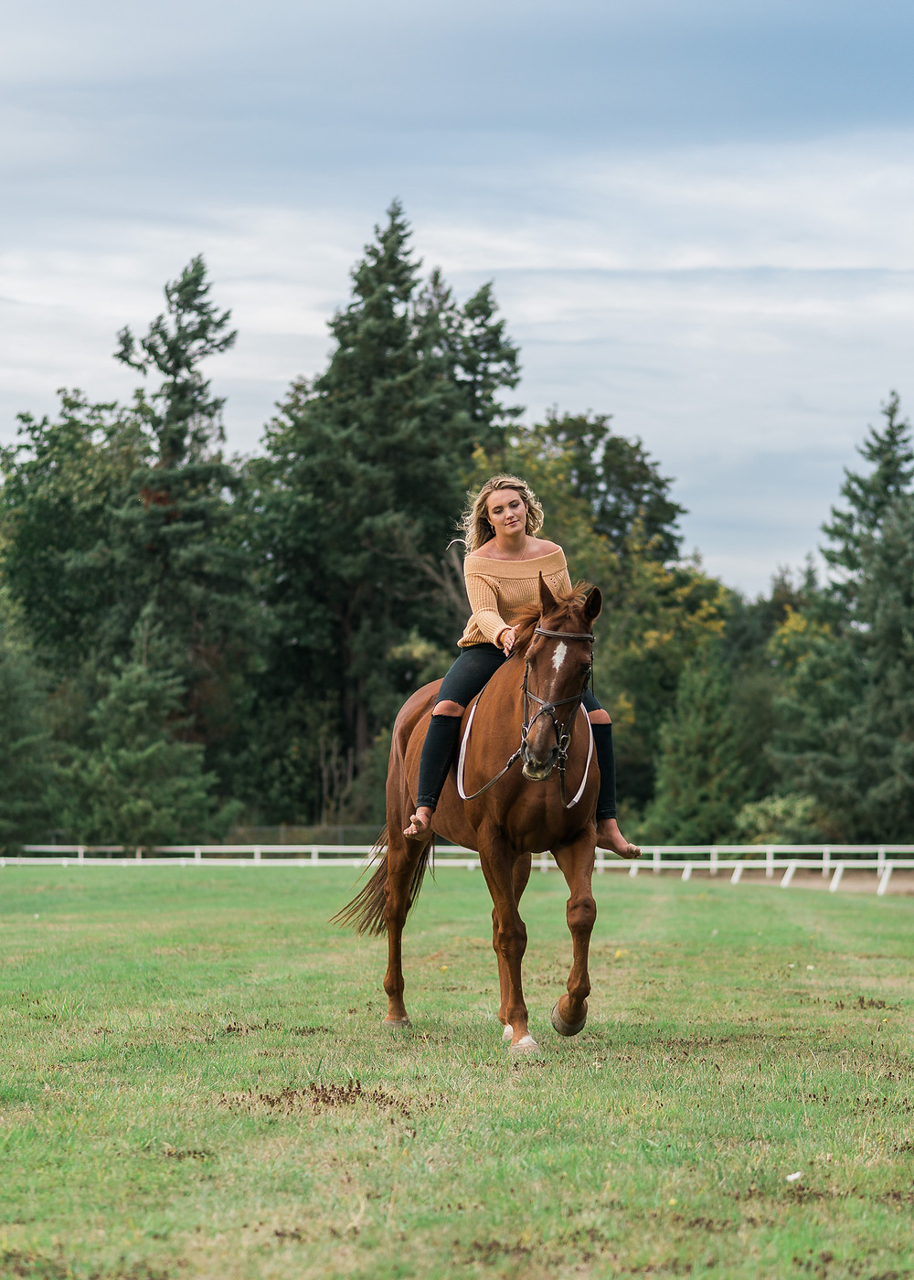 Lucy riding Kenai