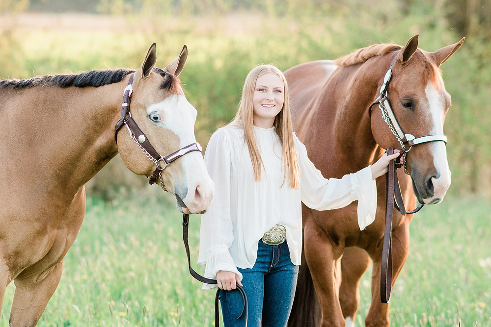 Ansley LaLone with her two APHA geldings, Shiloh and Leo