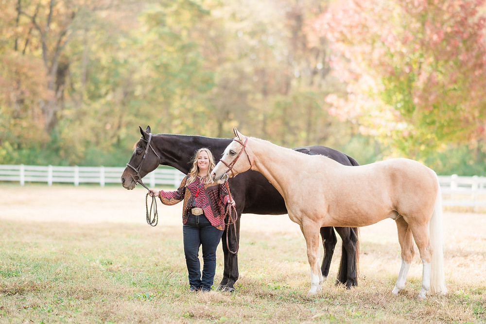 Amanda with Bailey and Edward, her two quarter horse geldings, in the pasture in Waterloo, IL