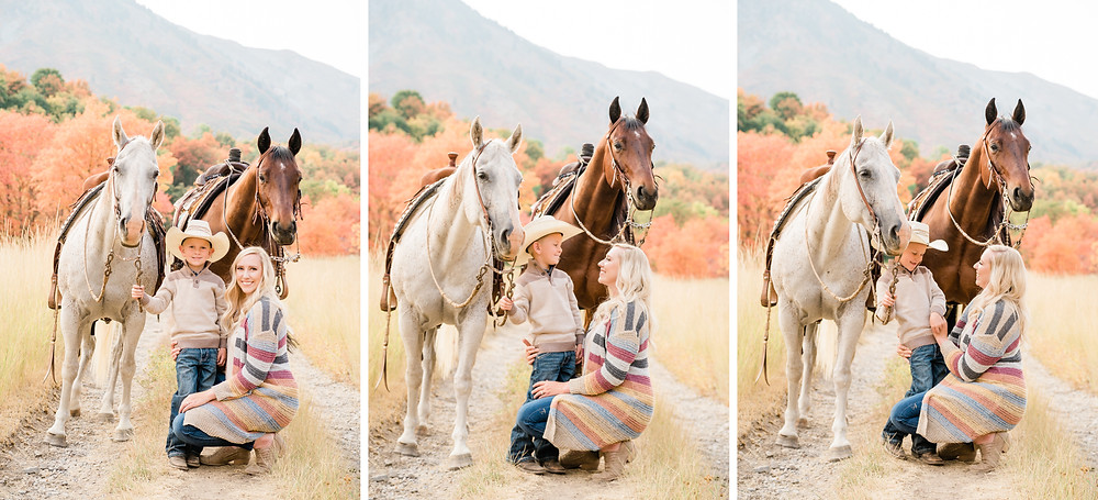 Lauren and Tatum with their horses, Sugar and Russel
