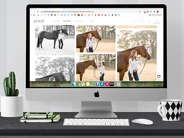 a computer monitor with photos of a girl and her horse