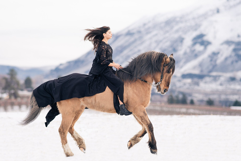 a girl wearing a long black dress standing in snow with a mountain in the background, riding her buckskin mustang horse