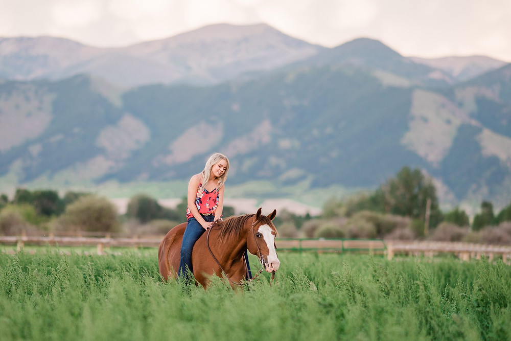 Katie riding Hank through a big field with the Bozeman mountains behind her