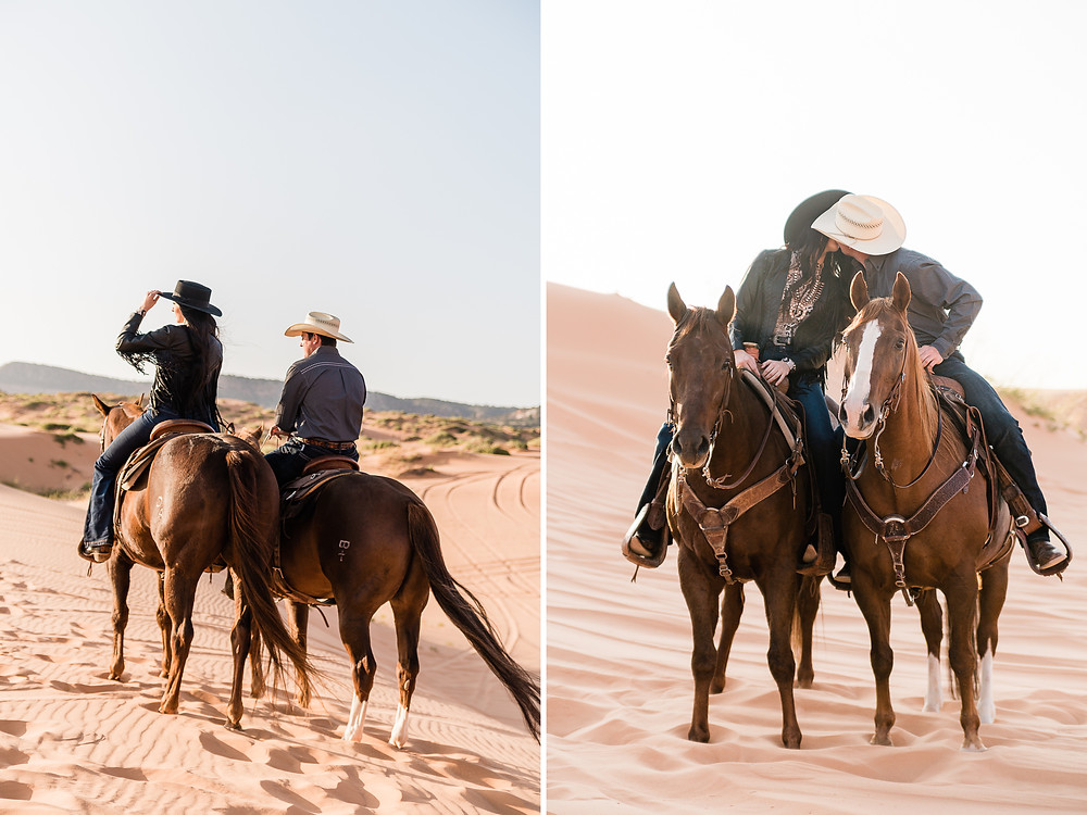 Josie and Brody riding their horses in the desert