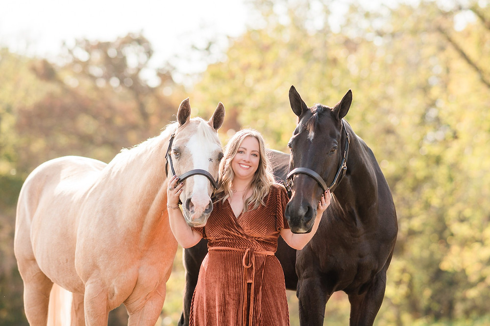 Amanda with her two geldings, Edward and Bailey- in Waterloo, Illinois