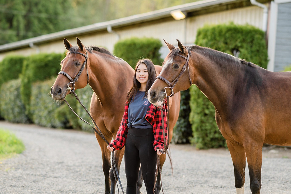 Kristen with her two horses, Princess & Cass at Union Hill Ranch in Redmond, WA