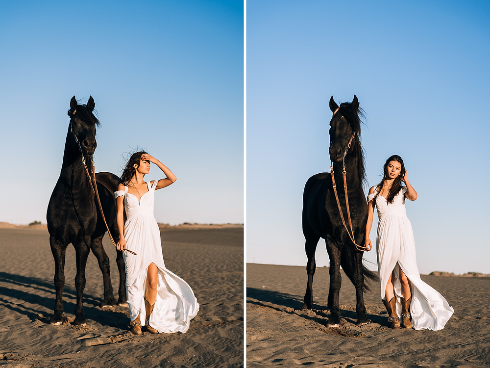 Soli in a white dress, with a black horse