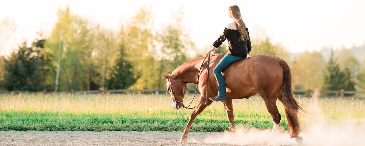a girl loping bareback on her sorrel APHA gelding in the sunset